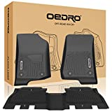 OEDRO Floor Mats Compatible for 2018-2021 Jeep Wrangler JL Unlimited 4-Door, Unique Black TPE All-Weather Guard Includes 1st and 2nd Row: Front, Rear, Full Set Liners