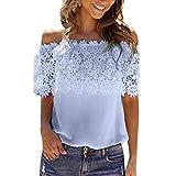 ESAILQ Damen T-Shirts Damen Sommer Uni Basic Kurzarm Tops Oberteil Leichtes mit Schnürung (XL,Blau)