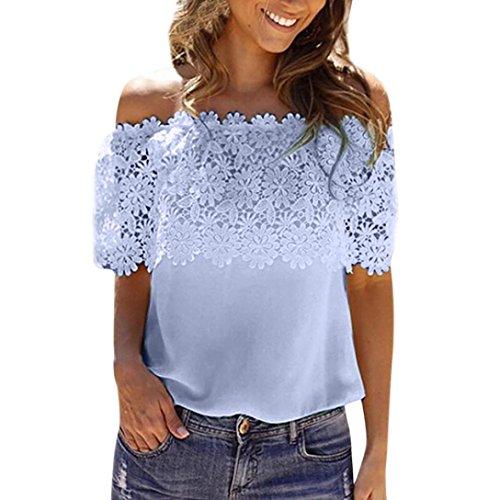 ESAILQ Damen Sommer Kurzarm T-Shirt V-Ausschnitt mit Schnürung Vorne Oberteil Tops Bluse Shirt(XXXL,Blau)