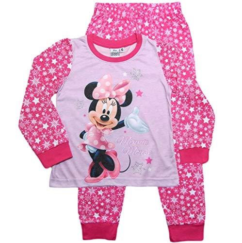 Minnie Mouse Schlafanzug Mädchen Pyjama Lang Einhorn (Rosa, 104-110)