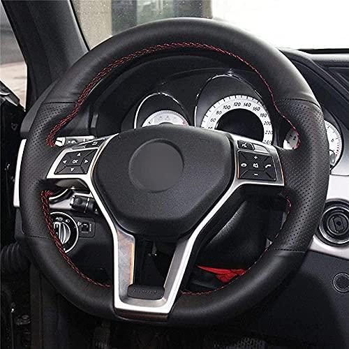 Coprivolante auto in pelle nera, per Mercedes Benz Classe A W176 A 45 AMG W176 W204 C117 C218 X218 2011-2016-Black_Thread