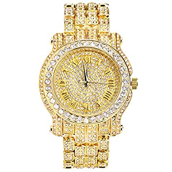 Men s Gold 45mm Iced Out Metal Band Watch Analog Display w/Simulated Cubic Zirconia Crystals - Quartz Movement - Adjustable Band Size