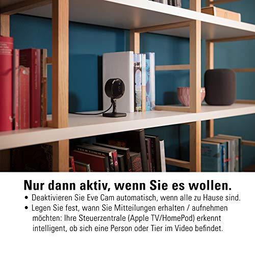 Eve Cam - Smarte Innenkamera, 1080p-Auflösung, WLAN, 100% Privatsphäre, HomeKit Secure Video, Mitteilung auf iPhone, Bewegungsmelder, Mikro & Speaker, Nachtsicht, flexible Installation (HomeKit)
