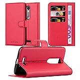 Cadorabo Hülle für Motorola Moto X Force - Hülle in Karmin ROT – Handyhülle mit Kartenfach & Standfunktion - Case Cover Schutzhülle Etui Tasche Book Klapp Style