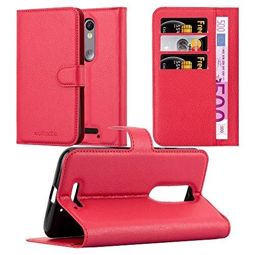 Cadorabo Hülle für Motorola Moto X Force in Karmin ROT - Handyhülle mit Magnetverschluss, Standfunktion & Kartenfach - Hülle Cover Schutzhülle Etui Tasche Book Klapp Style