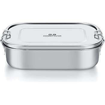 G.a HOMEFAVOR Bento Box, 21cm Leak-Proof Stainless Steel Bento Lunch Box Food Salad Snacks Storage Container with Removable Silicone Seal, 1400ml