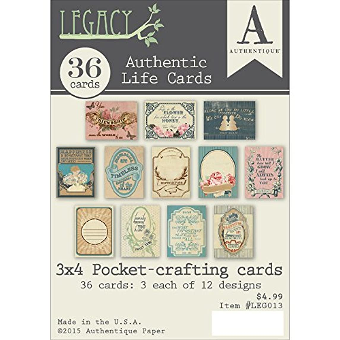Authentique Paper 3x4 Life Card Paper, 3 x 4, Multi