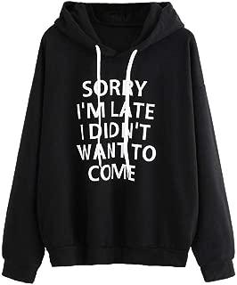 HGWXX7 Women Hoodie Loose Letter Print Long Sleeve Pullover Tops Blouse Shirt Sweatshirt