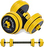 Nice C Adjustable Dumbbell Barbell Weight Pair, Free Weights 2-in-1 Set, Non-Slip Neoprene Hand,...