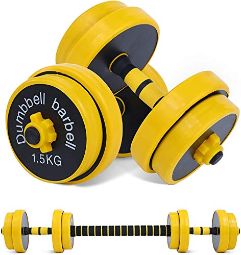 Nice C Adjustable Dumbbell Barbell Weight Pair, Free Weights 2-in-1 Set, Non-Slip Neoprene Hand, All-Purpose, Home, Gym, Office (Barbell 66LB or 18.2...