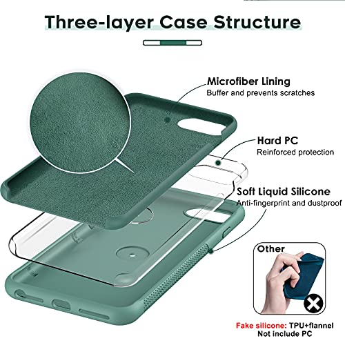 LeYi Compatible with iPhone 8 Plus Case, iPhone 7 Plus Case, iPhone 6s Plus Case, Soft Microfiber Liner Shock Absorption Gel Rubber Liquid Silicone Cover for iPhone 6 Plus,Green