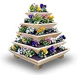 Pyramiden-Hochbeet aus Lärche - Pflanzpyramide - Handgefertigt in Deutschland - Kräuterpyramide für den Garten und Balkon - Kräuterbeet - Hochbeet Holz - Balkon Hochbeet