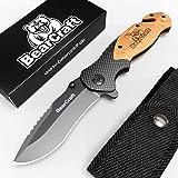 BearCraft Cuchillo Plegable en diseño de Carbono con ** eBook Gratis ** | Cuchillo de Bolsillo de Supervivencia | Cuchillo de Rescate de una Mano con Cortador de Vidrio y Cortador de cinturón