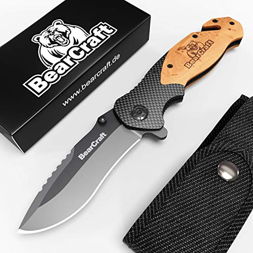 BearCraft Cuchillo Plegable en diseño de Carbono con ** eBook Gratis