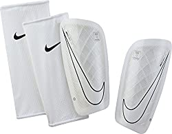 Nike Men's Mercurial Lite Shin Guards, White-Black, L