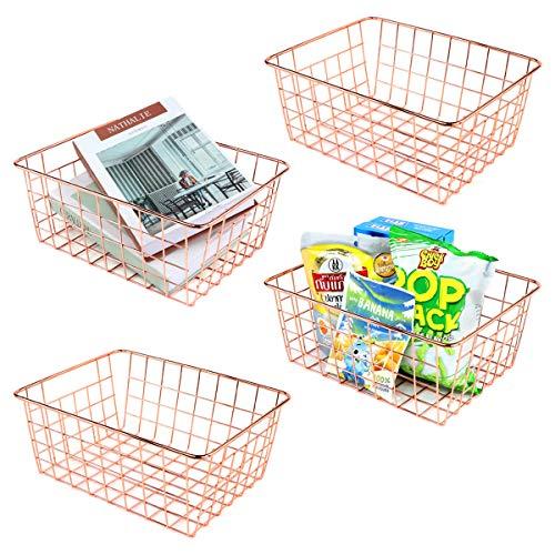 4 cestas de metal de alambre de oro rosa con asas, organizador de almacenamiento para despensa, armario, cocina, nevera, baño, garaje, cuarto de lavandería