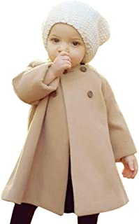 Sikye Kids Baby Girls Solid Cotton Outerwear Cloak Toddler Button Jacket Fall Winter Warm Coat Clothes