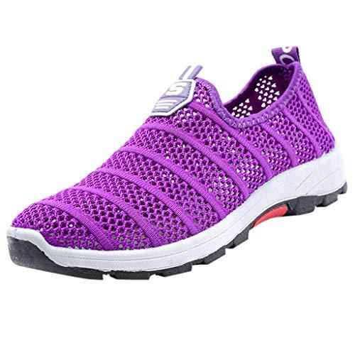 Damen Sportschuhe Slip Ons Laufschuhe Sommer Mesh Atmungsaktiv Turnschuhe Freizeitschuhe Sneaker Leichtgewicht Athletic Schuhe Bequeme Schuhe Halbschuhe (EU:40, Lila)
