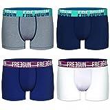 FREEGUN Lot de 4 Boxers Homme Coton Uni (L, Blanc/Bleu/Gris)