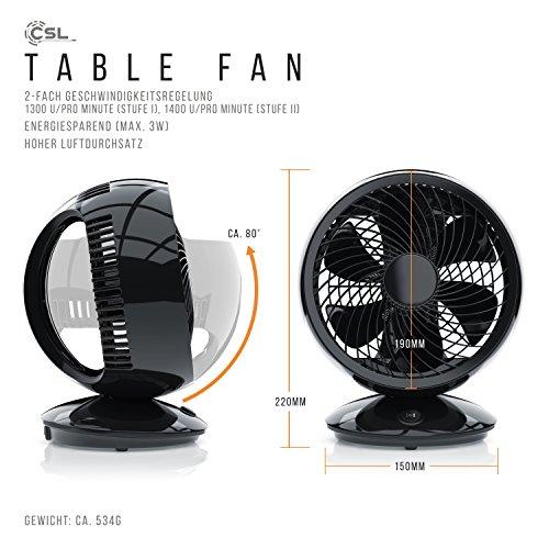 CSL - USB Ventilator - Tischventilator Fan Lüfter - optimal für den Schreibtisch inkl. An Aus-Schalter - PC MAC Notebook - schwarz