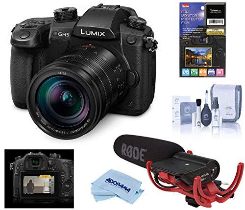 Panasonic LUMIX GH5 4K Mirrorless Digital Camera w/Leica 12-60mm Lens, Black, Bundle V-Log L Function Firmware Upgrade Kit, Rode VideoMic, LCD Protector, Cleaning Kit + Cloth