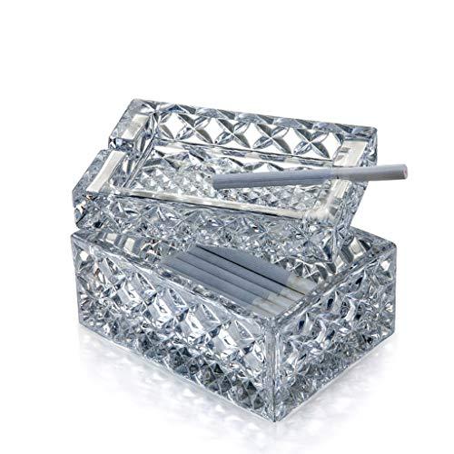 Cenicero LINGZHIGAN Cristal de Cristal Personalidad Creativa Plaza de la con Tapa Salón Mesa de Centro Hogar Oficina en casa