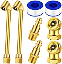 8 Pieces Brass Air Chuck Set1/4 Inch Closed Ball Air Chucks 1/4 Inch Dual Head NPT Male End Air Hose Pipe Fitting Tyre Valve Stems with Tape for Tire Inflator Gauge and Air Compressor