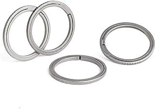 TISUR Titanium Keyring,Side-Pushing Designed Key chain Key Rings Protect Your Nails (4-Pack)