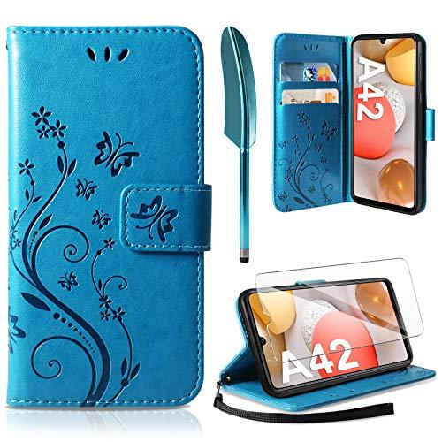 AROYI Lederhülle Kompatibel mit Samsung Galaxy A42 5G Hülle & Schutzfolie, Flip Wallet Handyhülle PU Leder Tasche Hülle Kartensteckplätzen Schutzhülle Kompatibel mit Samsung Galaxy A42 5G