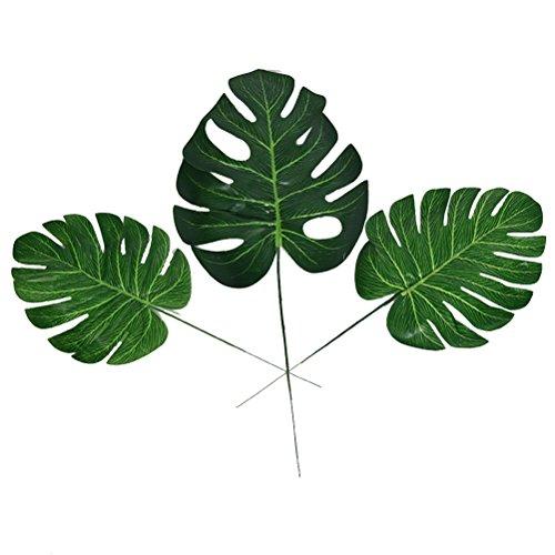 WINOMO Hojas tropicales de palmera artificiales, hojas de plástico para casa, oficina, decoración, 10 unidades, tamaño S
