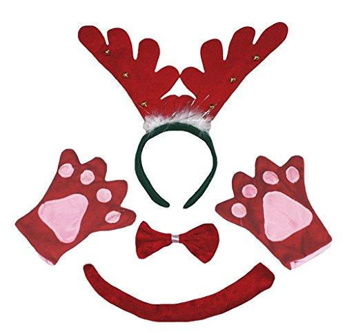 Petitebelle 3D Headband Bowtie Tail Gloves Unisex Children 4pc Costume (3D Red Ring Reindeer)