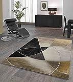 Monde Deluxe - Alfombra de salón de pelo corto, diseño geométrico, color dorado, negro, beige, 120 x 170 cm