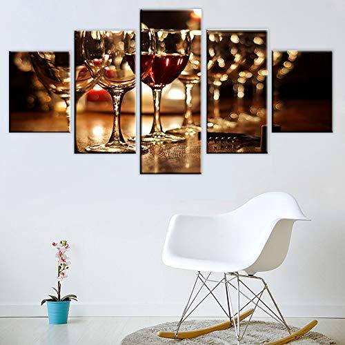 HKDGHTHJ Sala de estar dormitorio lienzo pintura mural Copa de vino vino tinto bar romance 150x100cm 5 piezas de arte de pared contemporáneo Impresión de lienzo Decoración de pared Sala de estar y do
