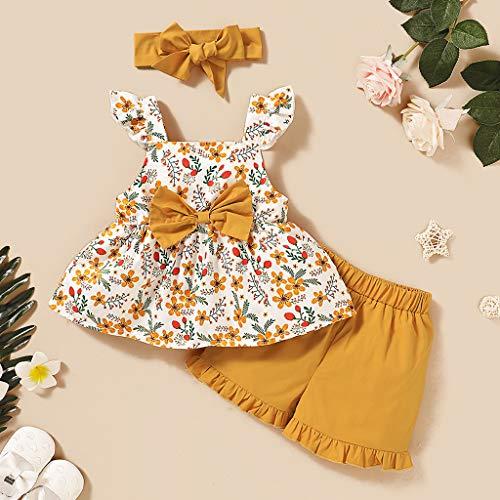 Janly Clearance Sale Conjunto de pantalones para bebés de 0 a 3 años, sin mangas, con estampado floral y pantalones cortos con volantes para bebés de 12 a 18 meses (amarillo)