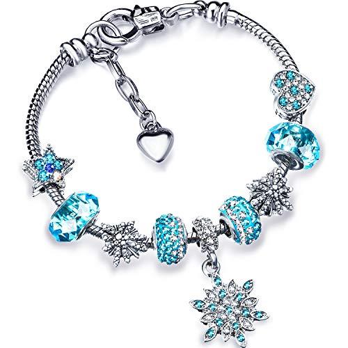 Zhanmai Weihnachten Schneeflocke Armband Schnee Himmelblau Funkelnde Armreif Kristall Bettelarmband mit Box Set für Mädchen Frauen Lady (18)