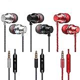 3 paquetes de audífonos intrauditivos en la oreja, audífonos YuCool con control de micrófono y volumen, sonido balanceado controlado por bajos, aislamiento de ruido