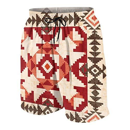 NOLOVVHA Uomo Personalizzato Costume da Bagno,Ornamento Geometrico Absract in Stile Indiano Americano,Casuale Beachwear Costumi Pantaloncini da Surf