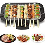 Smokeless Table Grill, Electric BBQ Grill 1500 W for Indoor and Outdoor Use, Electric Table Top Griddle, Non-Stick Coating Grill Surface 36 x 21 cm, Removable Grease Tray, Adjustable Thermostat, Black