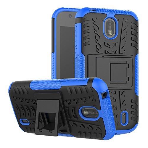 TenYll Nokia 1 Cover, [Staffa] Custodia in Silicone Misto a Doppio Strato Resistente Copertura Antiurto per Nokia 1 -Blu
