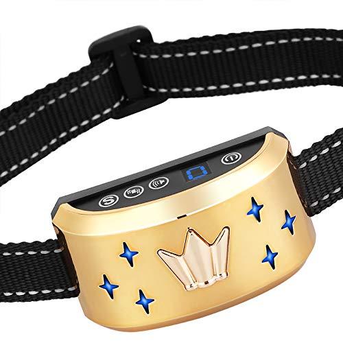 GoPetee Collar Antiladridos Recargable para Perros Pequeños Medianos y Grandes Collar Adiestramiento Recargable para Perros Sonidos y Vibraciones Audibles Chip Avanzado (Corona)
