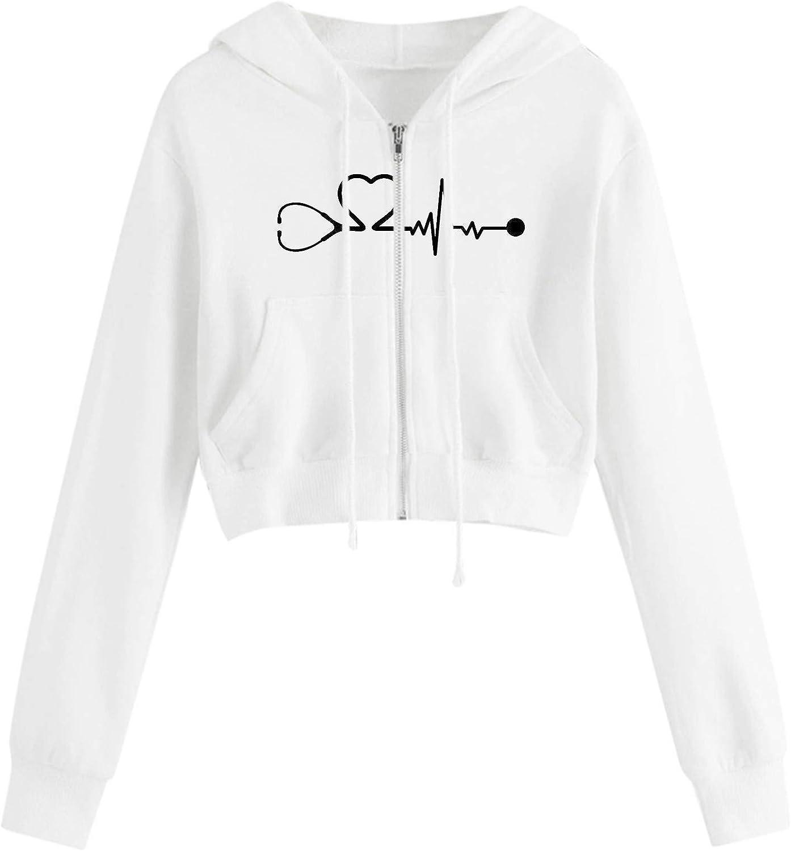 Crop Top for Women Long Sleeve Oversize Shirt Loose Blouse Tee Print Basic Tshirt Crew Neck Hoodie Sweatshirt
