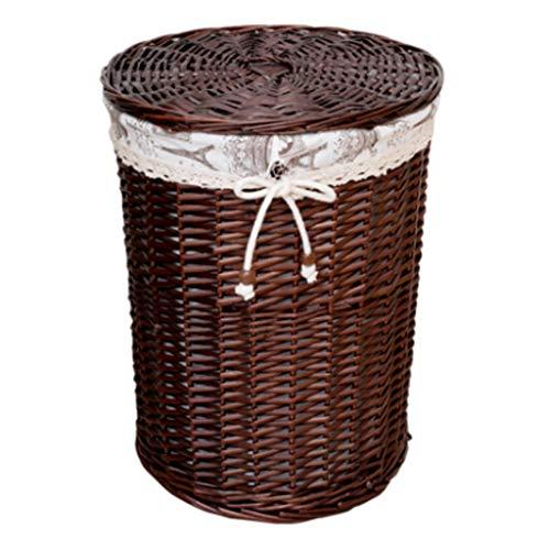 Canasta de almacenamiento de ropa sucia con tapa Canasta de lavandería de ratán, Ropa de juguete de juguete Canasta de almacenamiento de ropa sucia (Size : 34cmx43cm)