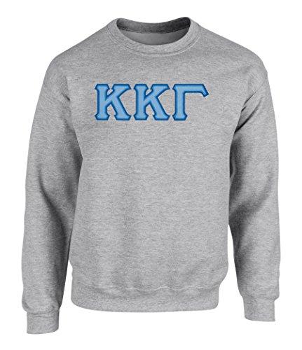 Kappa Kappa Gamma Twill Letter Crewneck Sweatshirt SPT Grey Small