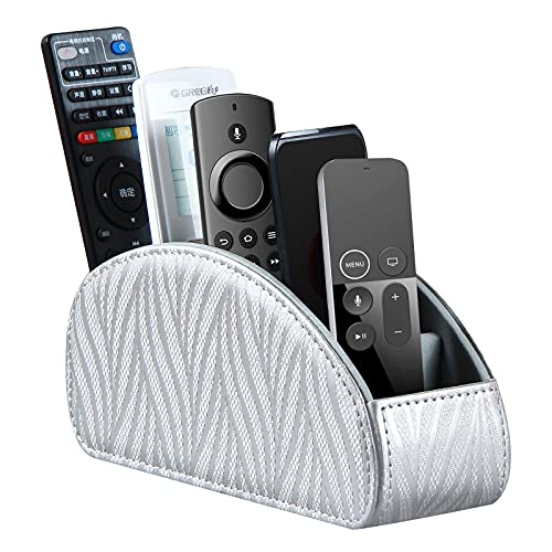 Remote Control Holder for Table, PU Leather 5 Compartments TV Remote Caddy Bedside Desk Organizer for DVD, Media, Blu-Ray, Heater Controllers, Mobile Phone, Glasses and Office Supplies Storage Box
