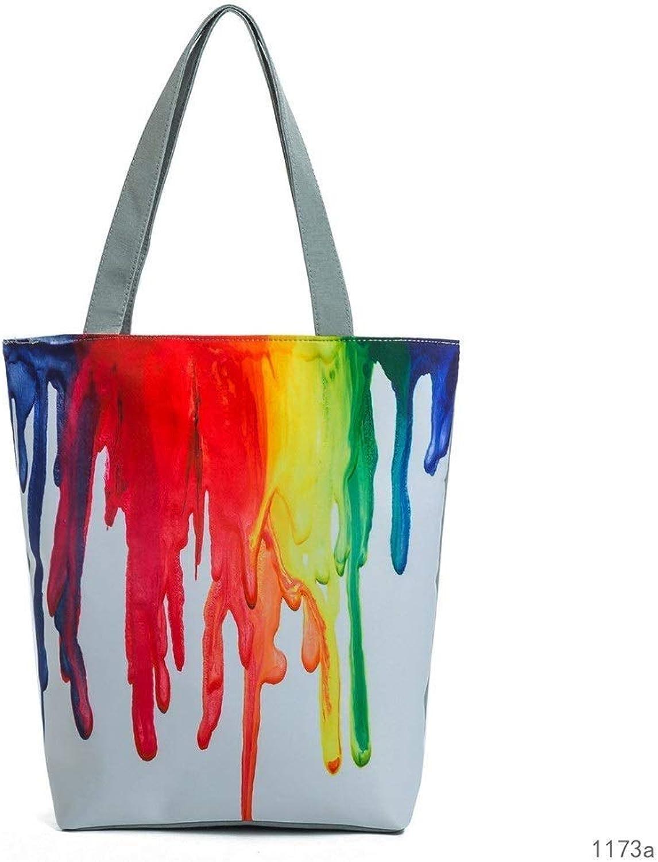CHEN Frauen Frauen Frauen Wasserdichte Strandtasche Handtasche Damen gemalt Druck Strandtasche Mode tragbare große Handtasche Damen Reißverschluss Handtasche B07Q2CG81Q 12456b