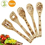 5 Piece Set Kitchen Cooking Utensils Set - Organic Bamboo Spoons Burned Wooden Spoon Turners Carved...