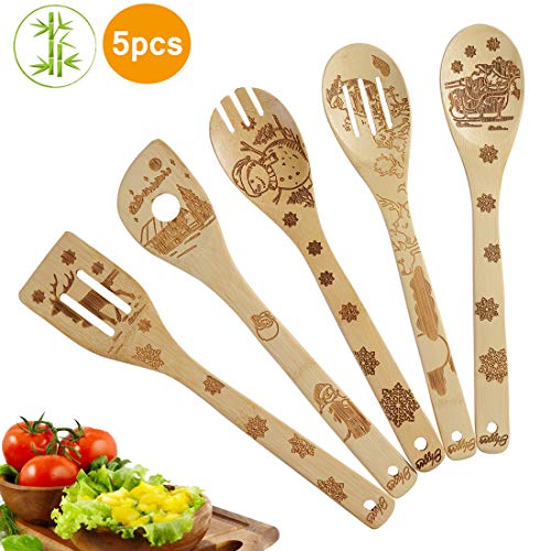 5 Piece Set Kitchen Cooking Utensils Set - Organic Bamboo Spoons Burned Wooden Spoon Turners Carved Spatulas Non-Stick-Great Gift For Chefs & Foodies (Christmas gift)