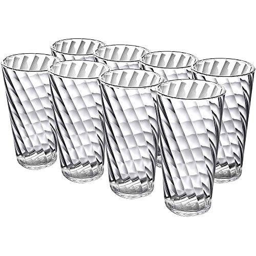 Amazing Abby Glacier  18Ounce Plastic Tumblers Set of 8 Plastic Drinking Glasses AllTransparent HighBalls BPAFree ShatterProof DishwasherSafe