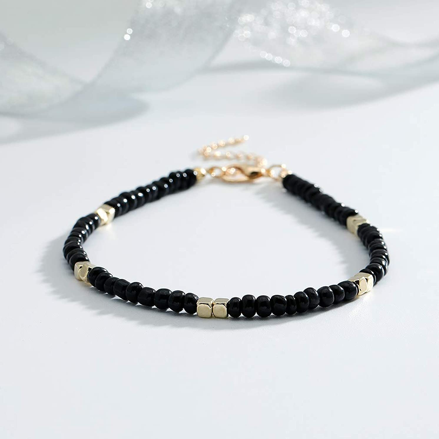 Yalice Minimalist Rice Beaded Anklets Colorful Seed Ankle Bracelet Beach Foot Chain for Women and Girls (Black)