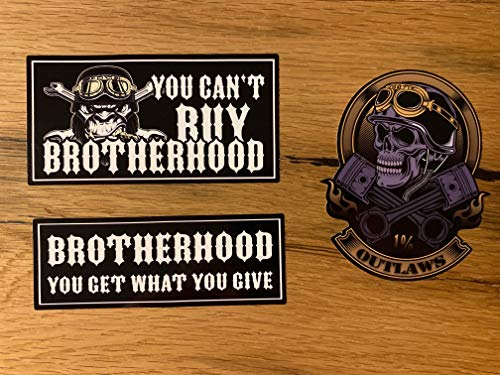 MG400 / 3X Brotherhood Aufkleber Biker Sticker Motorrad Outlaw Chopper Bobber Cafe Racer Auto Rocker Oldschool Tuning